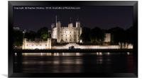 Night Falls over the Tower of London and Thames , Framed Print