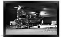 Ch47 Aircraft Chinook Helicopter Night Ops, Framed Print