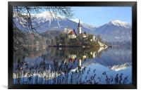 Church of the Assumption of Mary on Bled Island La, Framed Print