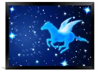 Pegasus Flying In the Night, Framed Print