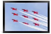 Red Arrows diamond nine at RIAT, Framed Print