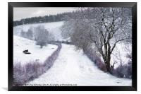Yorkshire Wolds Road in Winter., Framed Print