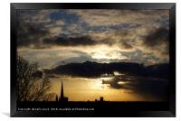 Dramatic sky over Norwich Cathedral, Framed Print