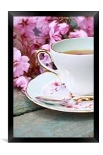 Beautiful Japanese cherry tree and a cup of tea, Framed Print