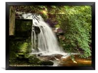 """""""Shaft of light at the waterfall"""", Framed Print"""