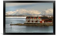 """""""Blue hour at Stokmarknes NorwaY"""", Framed Print"""