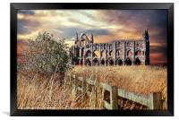 """breezy sunset at Whitby Abbey"", Framed Print"
