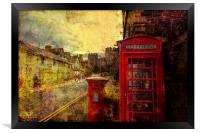 A Red Pillar Box and Telephone Booth on Castle St, Framed Print