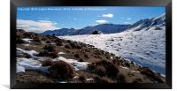 The beauty of snow on mountain,, Framed Print