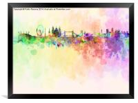 London skyline in watercolor background, Framed Print