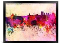 Istanbul skyline in watercolor background, Framed Print