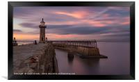 Whitby Harbour at dusk, Framed Print