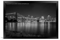 Brooklyn Bridge by Night, Framed Print