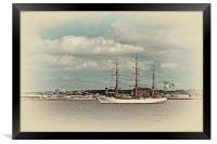 A tall ship on the river mersey, Framed Print