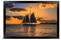 Sunset Sail and Plane, Framed Print