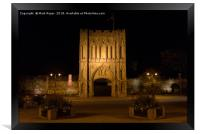 Abbey Gate at night in Bury St Edmunds, Framed Print