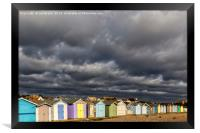 Ferring Beach Huts Under a Brooding Sky, Framed Print