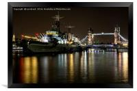 HMS Belfast and Tower Bridge, London, Framed Print