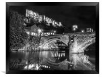 Durham Castle by Night Lights in Black and White, Framed Print