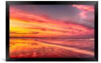 Sunset at the beach, Framed Print