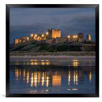 Twilight at Bamburgh Castle , Framed Print