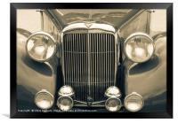 Alvis Vintage sports car grill and headlights, Framed Print