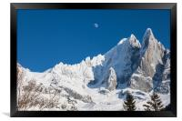 The moon above the French Alps, Framed Print