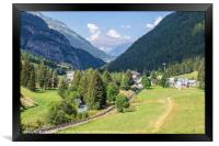 The Vallorcine valley in the French Alps in summer, Framed Print