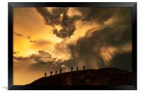 Hikers on the storm, Framed Print