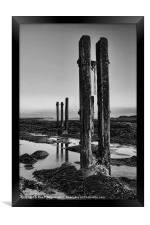 Old Groynes at Whitley Bay, Framed Print