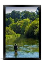 Fly Fishing ,River Itchen,Hampshire England, Framed Print