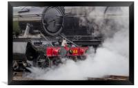 Close up of steam emitting from a locomotive, Framed Print