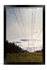 Power Lines Over The Fields, Framed Print