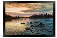 Sunset Over The Rapids, Framed Print