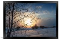 Winter Sunset By The River, Framed Print