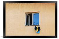 Drying The Laundry, Framed Print