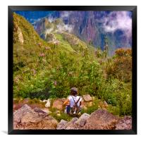 Woman Resting at Highs of Machu Picchu Mountain, Framed Print
