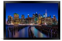 The New York City Skyline at night from DUMBO Broo, Framed Print