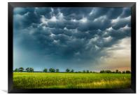 Mammatus clouds fill the sky in czech countryside, Framed Print