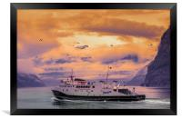 a ferry in Norway, Framed Print