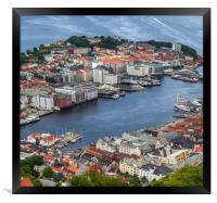 The city of Bergen Norway, Framed Print