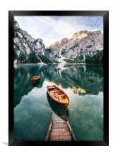 Braies lake in Dolomites, Italy, Framed Print