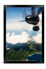 Propeller aircraft wing over tropical island, Framed Print