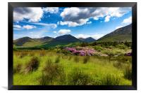 Ireland countryside with green grass and hills , Framed Print