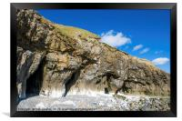The Cliff Caves at Pendine Sands Carmarthenshire, Framed Print