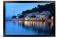 Pomena harbour at dusk, Framed Print