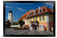 Colourful renovated merchants houses in Sibiu, Framed Print