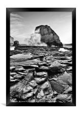 Dramatic view of Shark Fin Cove, Framed Print