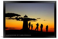 People taking photos at Peggy's Cove Lighthouse, Framed Print