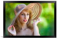 Beautiful blonde with hat outdoors, Framed Print